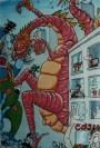 """Peinture, détail - Painting, detail - """"Ça bouge au Nord"""" 1991"""
