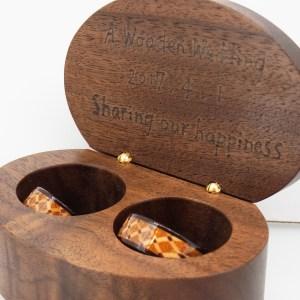 木婚式に木の指輪 タータン