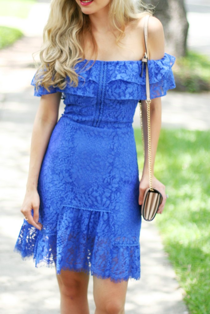 off the shoulder blue lace dress what to wear to summer wedding spring wedding