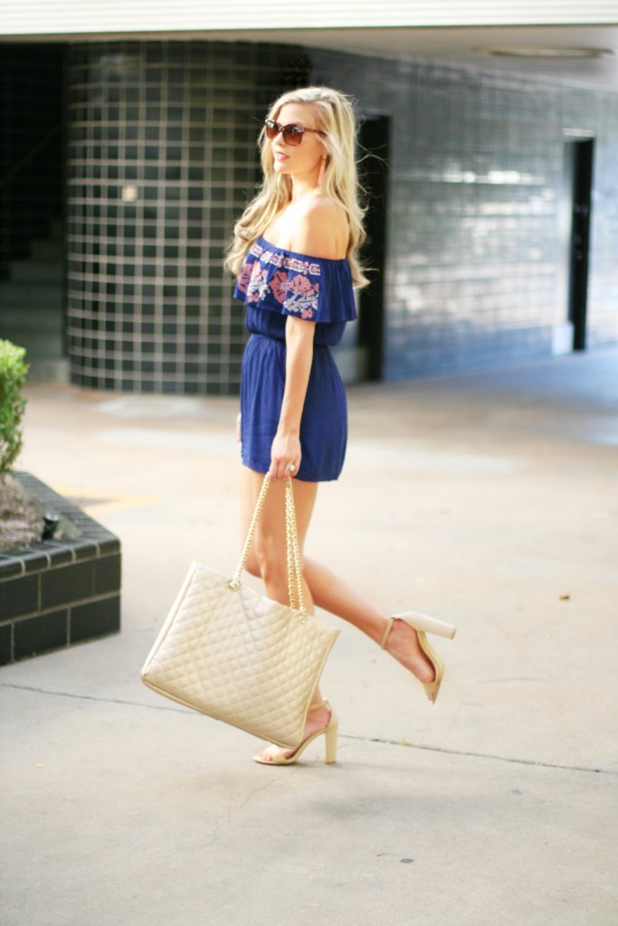spring summer romper blue and pink spring style inspiration