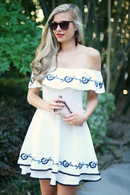 white off the shoulder dress black and white summer spring style