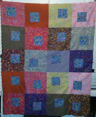 "Kaffe Fassett Collective Classics / Summer Song , tested by Elaine Stevens (centers are Brandon Mably's ""rings"" print)"