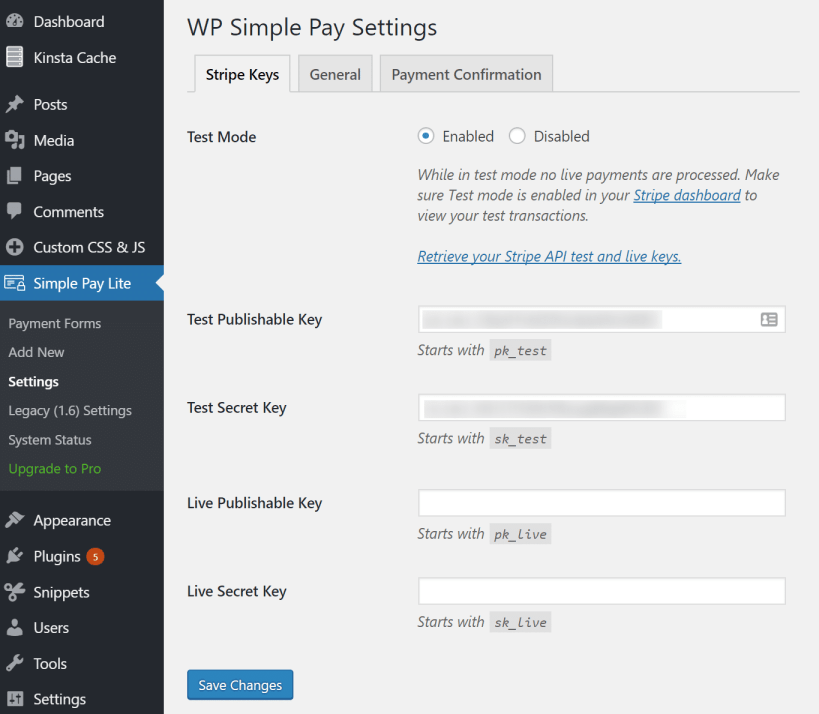 Install WP Simple Pay Lite plugin