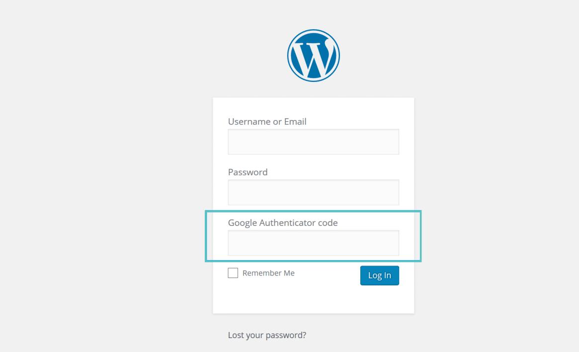 inicio de sesión de WordPress de Google authenticator