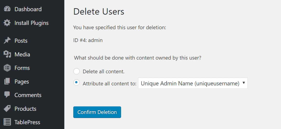 eliminar el atributo de administrador de todo el contenido a