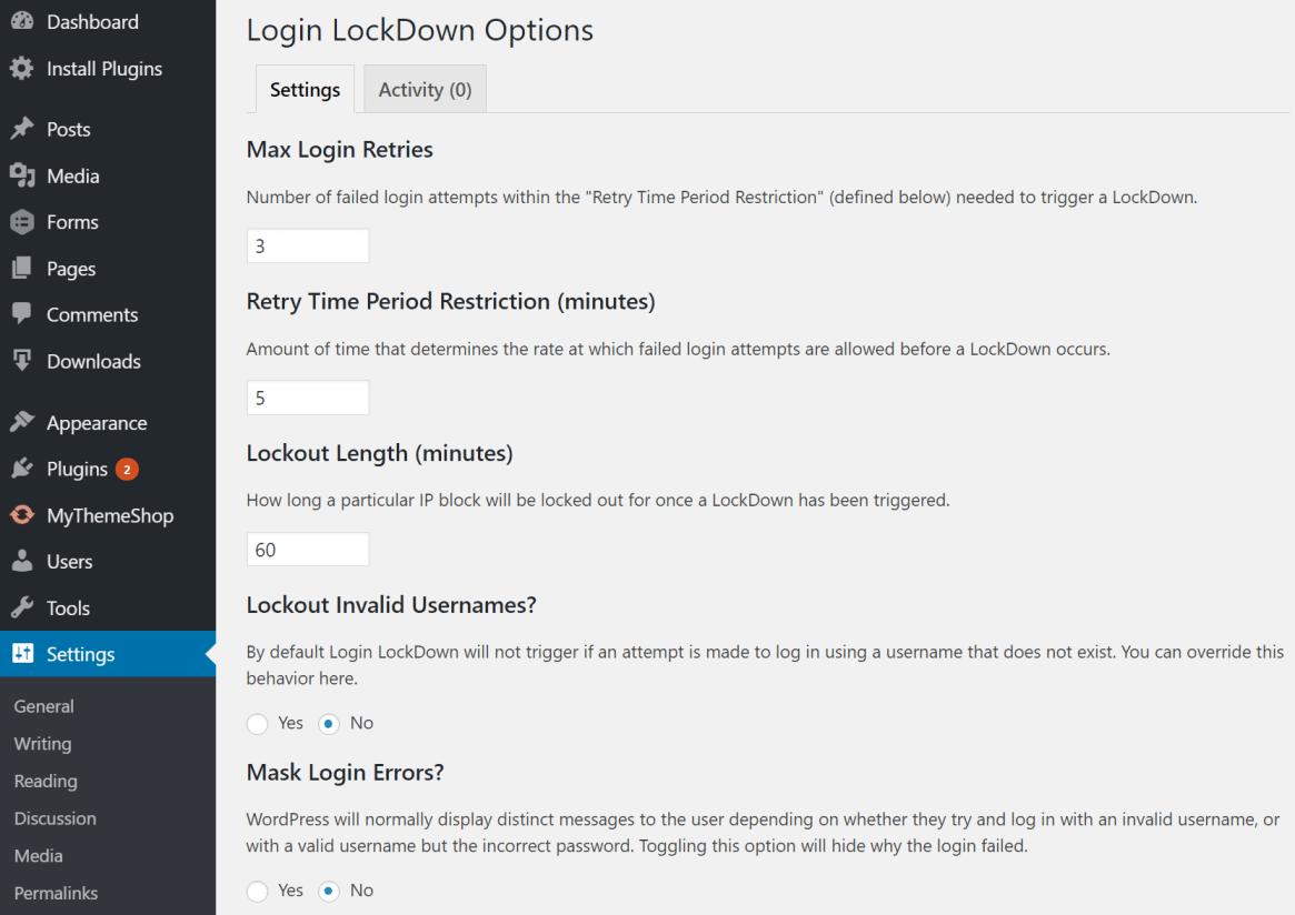 login lockdown wordpress