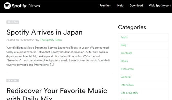 spotify news wordpress sites