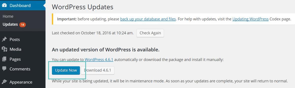 actualizar el núcleo de wordpress