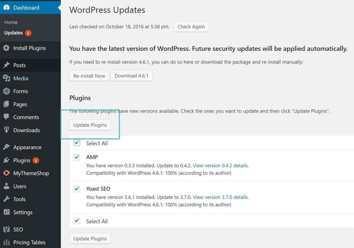 actualizar los plugins de wordpress