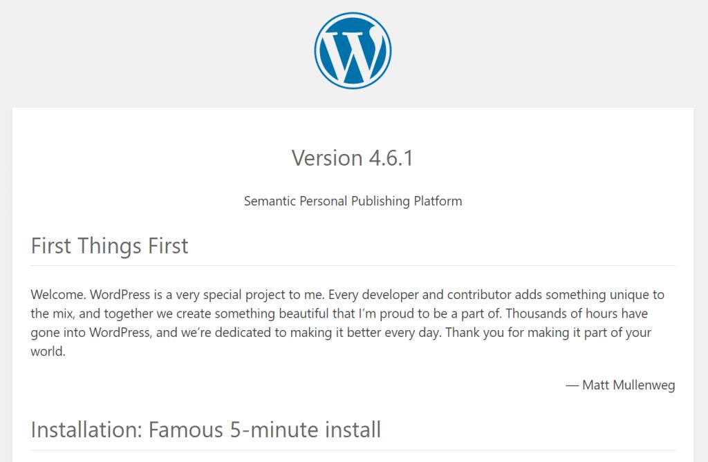 Versión de WordPress en el archivo readme