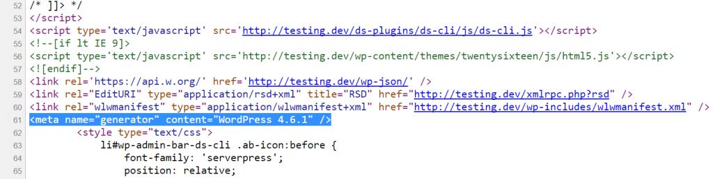 Versión de WordPress en el código fuente