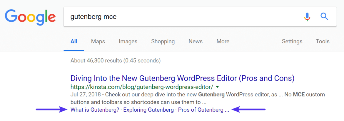 Anchor links in Google