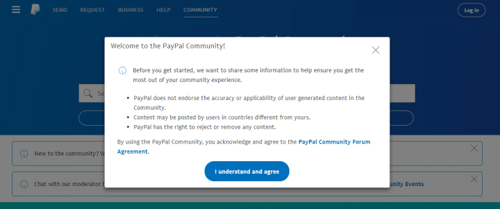 PayPal forum disclaimer