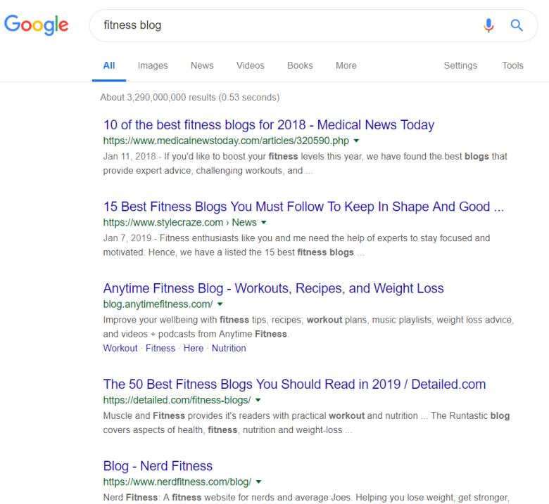 Blog di fitness Ricerca di Google