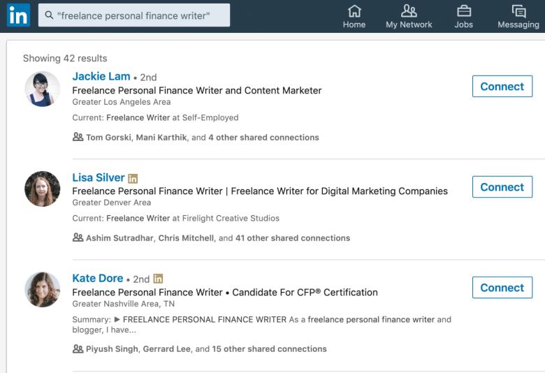 Ricerca di scrittori di finanza personale freelance su LinkedIn