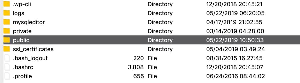 WordPress root folder SFTP