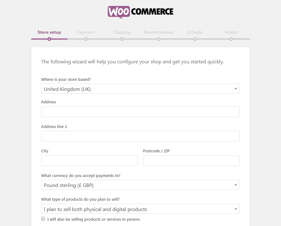 The WooCommerce Store setup page