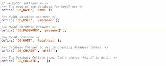wp-config.php database details