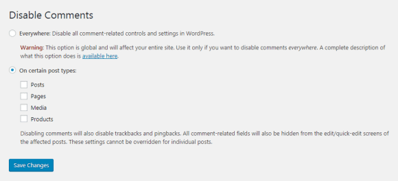 disable comments plugin settings 1