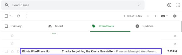 kinsta newsletter autoresponder message