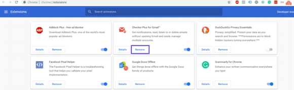 remove chrome extensions 1