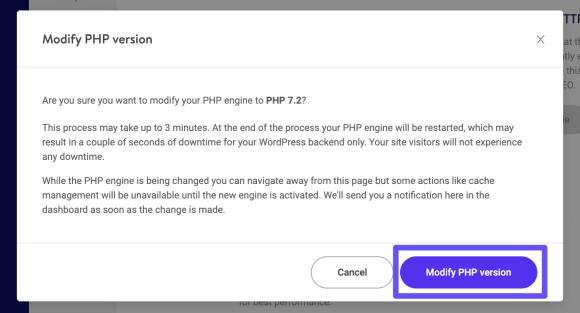 modify php version 1