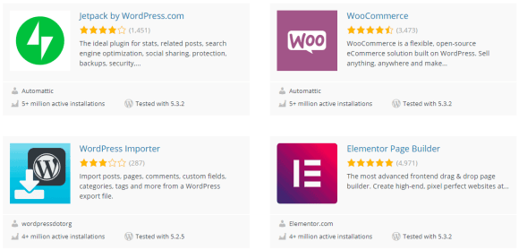 A screenshot of plugins available on wp.org