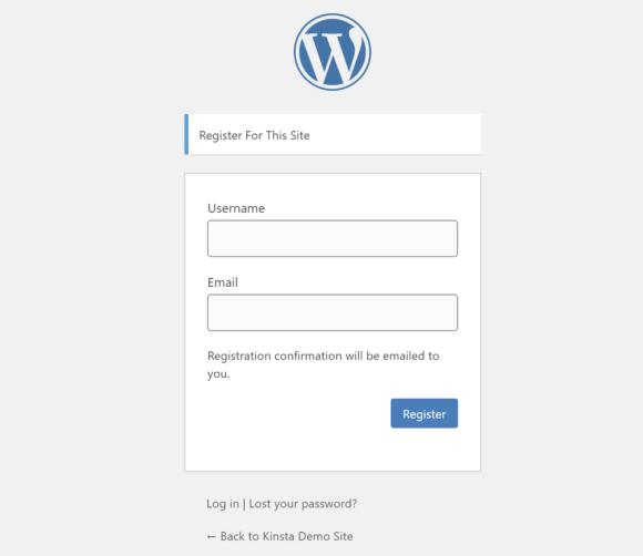 The default WordPress registration form