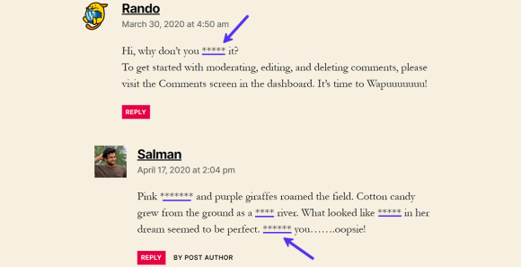 Comments with dummy profane words which are all now censored