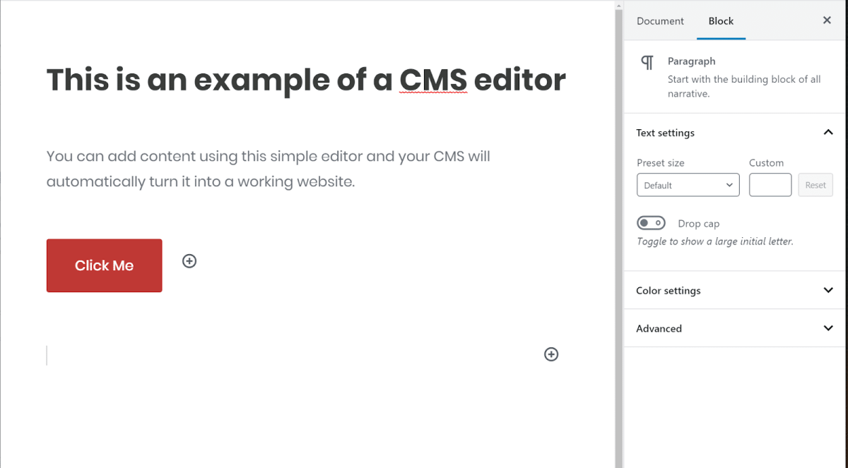 Example Editor of CMS Software