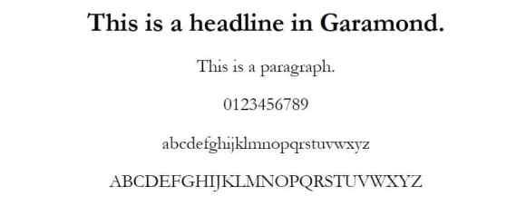 garamond font - web safe fonts