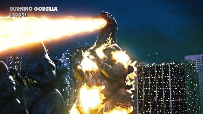 aliento atómico color fuego de Godzilla