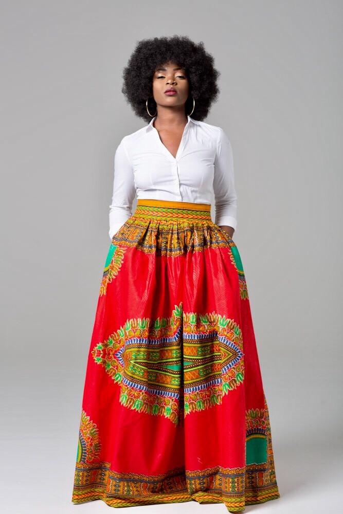 de2bd2d63 High waist African Ankara print plus size maxi skirt - Kipfashion