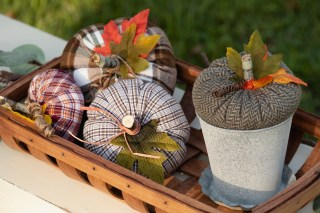 Easy Sew Fabric Pumpkins from thrift store shirts