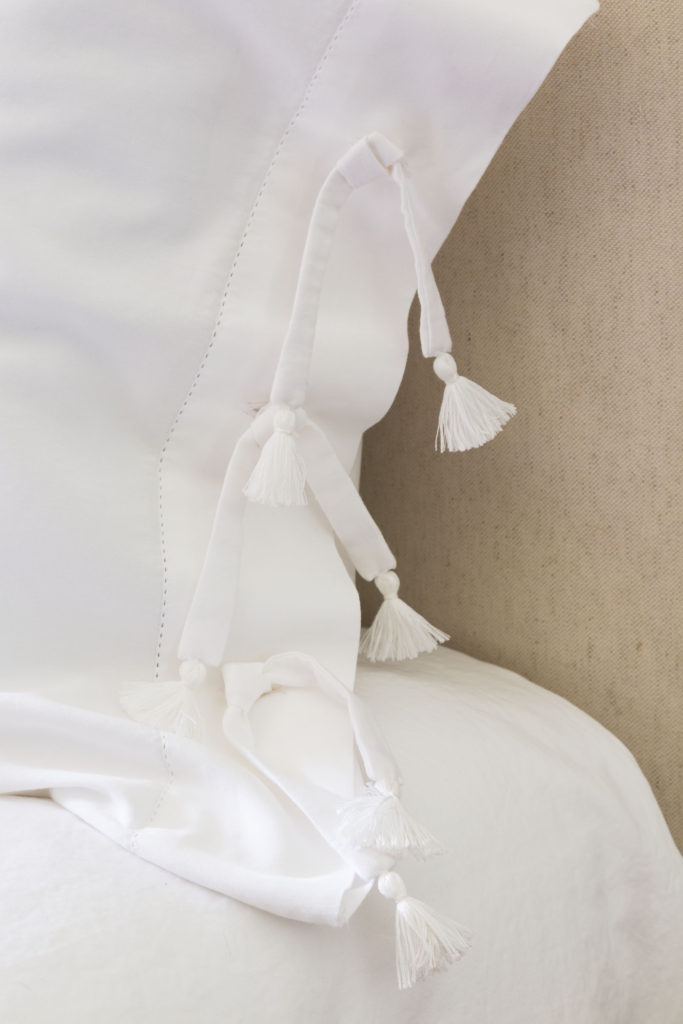 pillow shams with ties and tassels