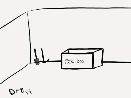 """black and white sketch of a shovel, pickaxe, and box in a room . the box is labeled """"rock box"""""""
