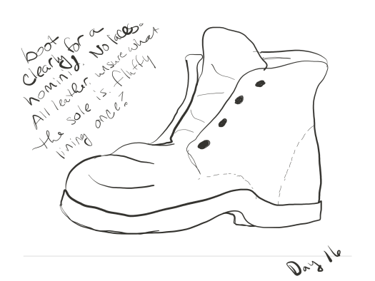 black and white sketch of a right boot with no laces. includes the words: boot clearly for a hominid. no laces. all leather. unsure what the sole is. fluffy lining once?