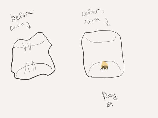 "Sketch. On the left, a very poor sketch of a cave with stalactites and stalagmites and an uneven surface, labelled ""before: cave"". on the right, a sketch that looks a bit like an oval marshmallow representing a smoothed-out set of cave walls, with a small fire in the center of the floor, labeled ""after: room""."