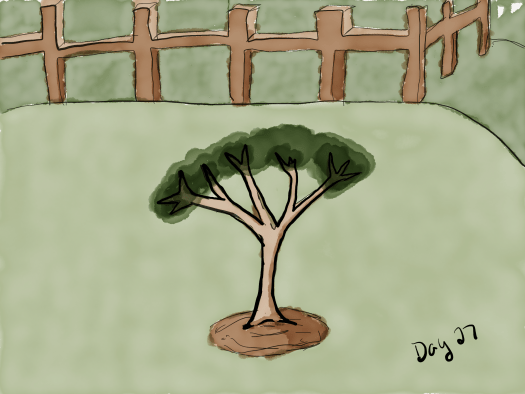 Watercolor. Depicts a fence at the top of the hill in the background. In the foreground, a small tree with 5 branches is planted in a green field. The fence is sloppy but the artist improved a bit at the tree.