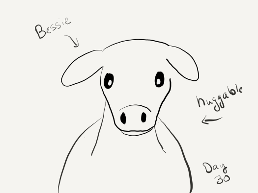 "Black and white line drawing of a cow (head and upper body) staring directly at the viewer, labeled ""Bessie. Huggable."""
