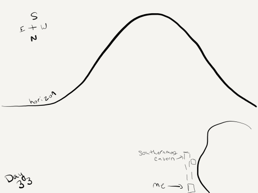 Very simple black and white sketch of a mountain (big curvy line), a lake, and some dotted lines indicating the author's progress toward the mountain. She's maybe 1/2 to 1/3 of the way to it via her underground caverns.