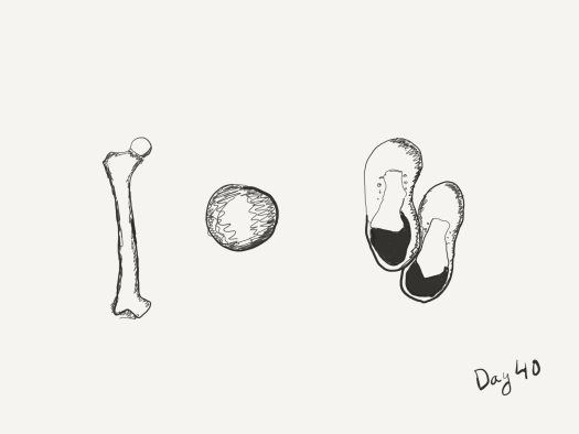 Black and white sketch from above: one femur, one wooden bowl (badly drawn), one pair of boots
