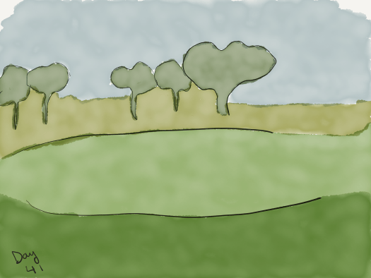 Watercolor sketch. All colors are muted as if seen through the rain. Blue-grey sky, some trees way in the background, yellowish-green fields in the distance, brighter green, then darker green fields in the foreground.