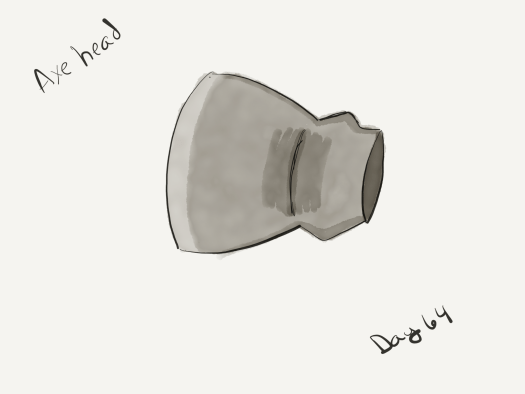 "Watercolor of a very simple axe head, the type made in 18th century Earth. Labeled ""axe head"""