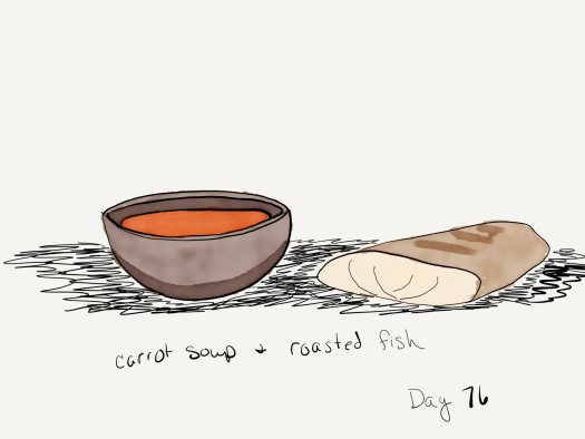 Watercolor of a wooden bowl filled with carrot soup and a piece of roasted white fish.