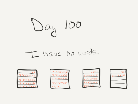 Sketch of calendar pages with x's drawn over each day. Captioned: Day 100. I have no words.