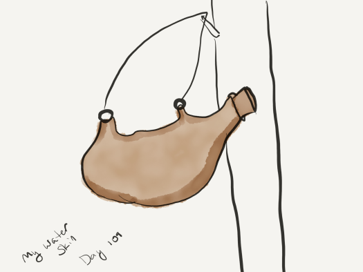 A watercolor sketch of a water skin hanging from a wall. It's brown and looks somewhat like a stomach.