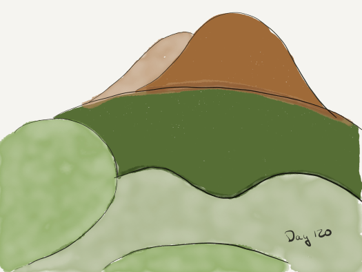 Watercolor of the valley outside the east entrance, with the big mountain in the distance. Incredibly simple, mostly green shapes.