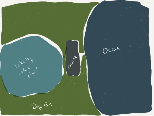 water color map of a lake on the left, an ocean on the right, and a dark grey section in the narrowest area between the two bodies of water representing the ravine. all else is green grass.
