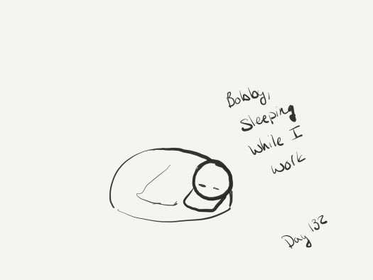"a line sketch of bobby the ducken sleeping with his beak almost touching the ground and his wing tucked. Labeled ""bobby sleeping while I work."""
